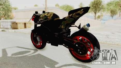 Kawasaki Ninja 250R Naked Camouflage para GTA San Andreas traseira esquerda vista