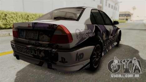 Mitsubishi Lancer Evolution VI Tenryuu Itasha para GTA San Andreas esquerda vista