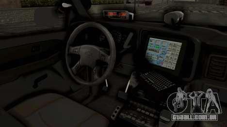 Chevrolet Suburban Indonesian Police RESMOB Unit para GTA San Andreas vista interior