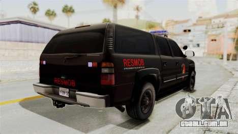 Chevrolet Suburban Indonesian Police RESMOB Unit para GTA San Andreas vista direita