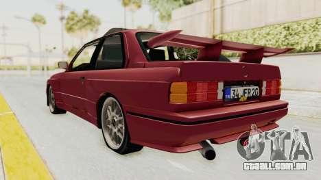 BMW M3 E30 1988 para GTA San Andreas traseira esquerda vista