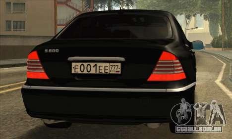 Mercedes-Benz S600 para GTA San Andreas traseira esquerda vista