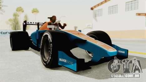 Rio Haryanto 88 F1 Manor Racing para GTA San Andreas traseira esquerda vista