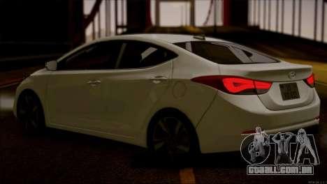 Hyundai ELANTRA 2015 STOCK para GTA San Andreas traseira esquerda vista