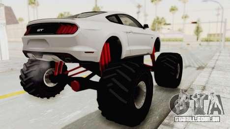 Ford Mustang GT 2015 Monster Truck para GTA San Andreas esquerda vista