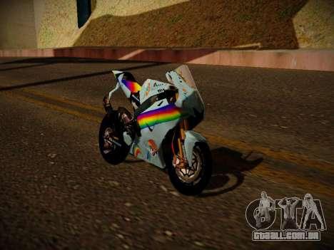 Yamaha YZR M1 2016 Rainbow Dash para GTA San Andreas traseira esquerda vista