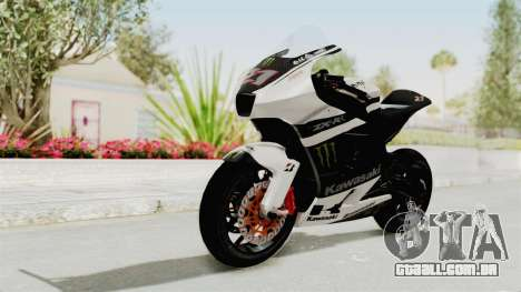 Kawasaki Ninja ZX-RR Streetrace para GTA San Andreas traseira esquerda vista