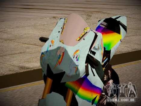 Yamaha YZR M1 2016 Rainbow Dash para GTA San Andreas vista traseira