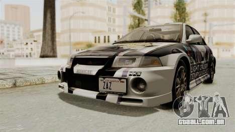 Mitsubishi Lancer Evolution VI Tenryuu Itasha para GTA San Andreas vista direita