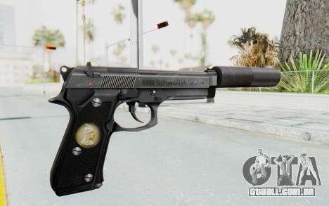 Tariq Iraqi Pistol Back v1 Silver Silenced para GTA San Andreas segunda tela