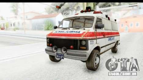 MGSV Phantom Pain Ambulance para GTA San Andreas traseira esquerda vista
