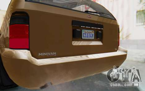 GTA 5 Vapid Minivan para GTA San Andreas vista interior