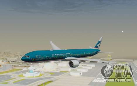 Boeing 777-300ER Cathay Pacific Airways v2 para GTA San Andreas traseira esquerda vista