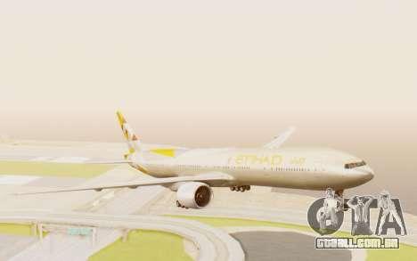Boeing 777-300ER Etihad Airways para GTA San Andreas traseira esquerda vista