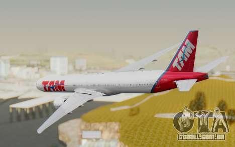 Boeing 777-300ER TAM linhas Aéreas para GTA San Andreas vista direita