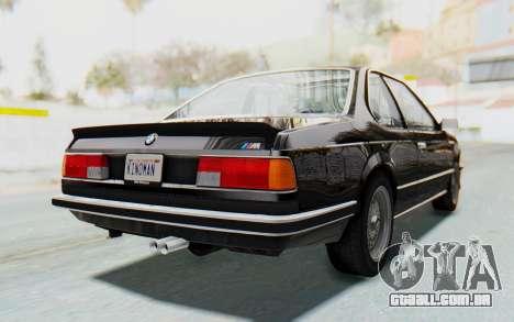 BMW M635 CSi (E24) 1984 HQLM PJ3 para GTA San Andreas traseira esquerda vista