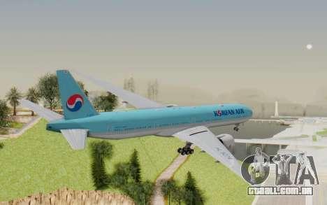 Boeing 777-300ER Korean Air para GTA San Andreas vista direita