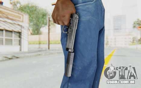 Tariq Iraqi Pistol Back v1 Silver Silenced para GTA San Andreas terceira tela