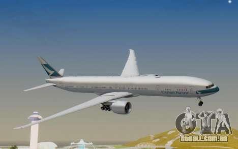 Boeing 777-300ER Cathay Pacific Airways v1 para GTA San Andreas traseira esquerda vista