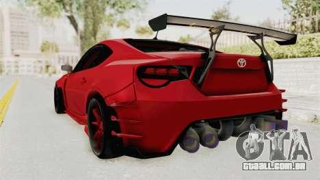 Toyota GT86 Drift Edition para GTA San Andreas esquerda vista