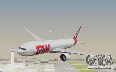 Boeing 777-300ER TAM linhas Aéreas para GTA San Andreas traseira esquerda vista