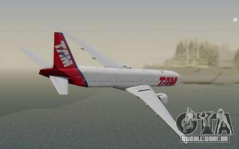 Boeing 777-300ER TAM linhas Aéreas para GTA San Andreas esquerda vista