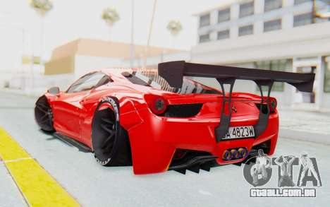 Ferrari 458 Liberty Walk para GTA San Andreas esquerda vista