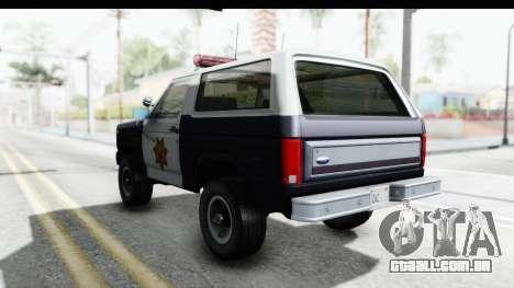 Ford Bronco 1982 Police para GTA San Andreas traseira esquerda vista