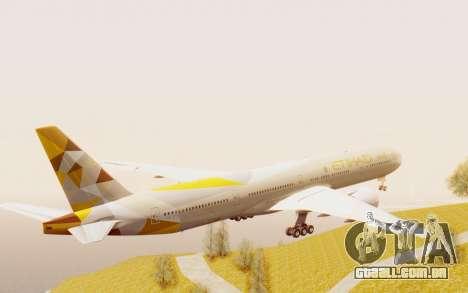 Boeing 777-300ER Etihad Airways para GTA San Andreas vista direita