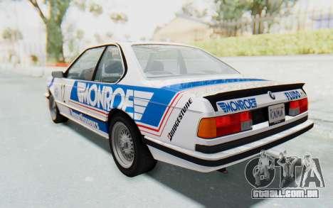 BMW M635 CSi (E24) 1984 HQLM PJ3 para GTA San Andreas vista inferior