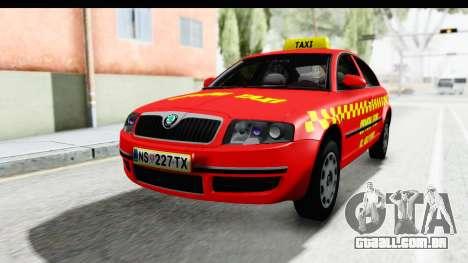 Skoda Superb Táxi Vermelho para GTA San Andreas vista direita