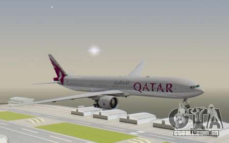 Boeing 777-300ER Qatar Airways v1 para GTA San Andreas traseira esquerda vista
