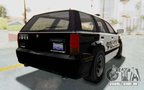 Canis Seminole Police Car para GTA San Andreas traseira esquerda vista