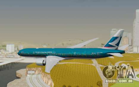 Boeing 777-300ER Cathay Pacific Airways v2 para GTA San Andreas vista direita