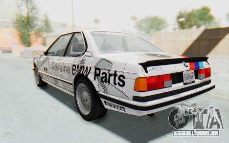BMW M635 CSi (E24) 1984 HQLM PJ1 para GTA San Andreas vista superior