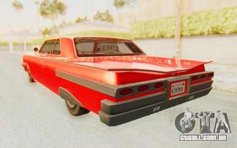 GTA 5 Declasse Voodoo Alternative v2 para GTA San Andreas traseira esquerda vista