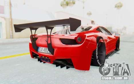 Ferrari 458 Liberty Walk para GTA San Andreas vista traseira