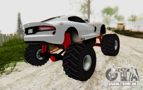 Dodge Viper SRT GTS 2012 Monster Truck para GTA San Andreas traseira esquerda vista