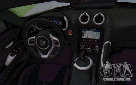Dodge Viper SRT GTS 2012 Monster Truck para GTA San Andreas vista interior