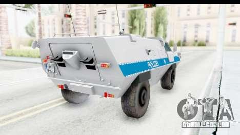 Hermelin TM170 Polizei para GTA San Andreas traseira esquerda vista