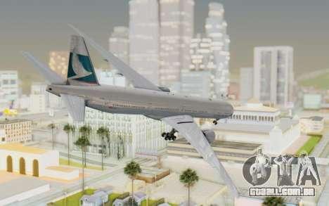 Boeing 777-300ER Cathay Pacific Airways v1 para GTA San Andreas esquerda vista