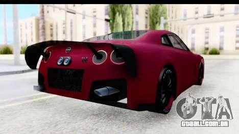 Nissan GT-R R35 Top Speed para GTA San Andreas traseira esquerda vista