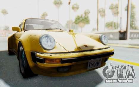 Porsche 911 Turbo 3.2 Coupe (930) 1985 para GTA San Andreas traseira esquerda vista