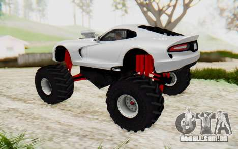 Dodge Viper SRT GTS 2012 Monster Truck para GTA San Andreas esquerda vista