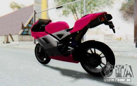 Ducati 1098R High Modification para GTA San Andreas esquerda vista