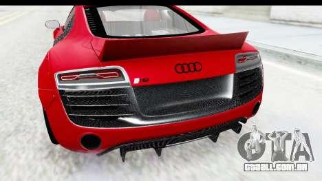 Audi R8 5.2 V10 Plus LB Walk para GTA San Andreas vista traseira