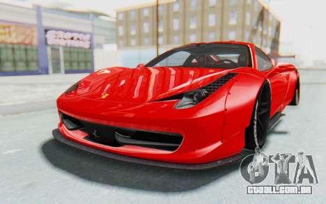 Ferrari 458 Liberty Walk para GTA San Andreas traseira esquerda vista