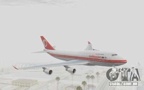 Boeing 747-200 Malaysia Airlines para GTA San Andreas traseira esquerda vista