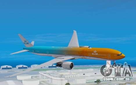 Boeing 777-300ER KLM - Royal Dutch Airlines v4 para GTA San Andreas traseira esquerda vista
