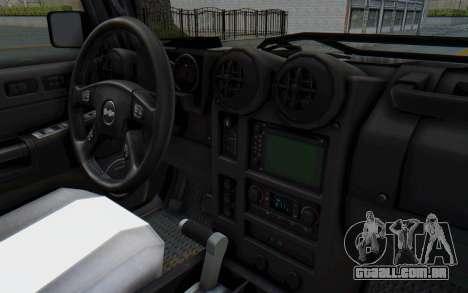 Hummer H2 para GTA San Andreas vista interior